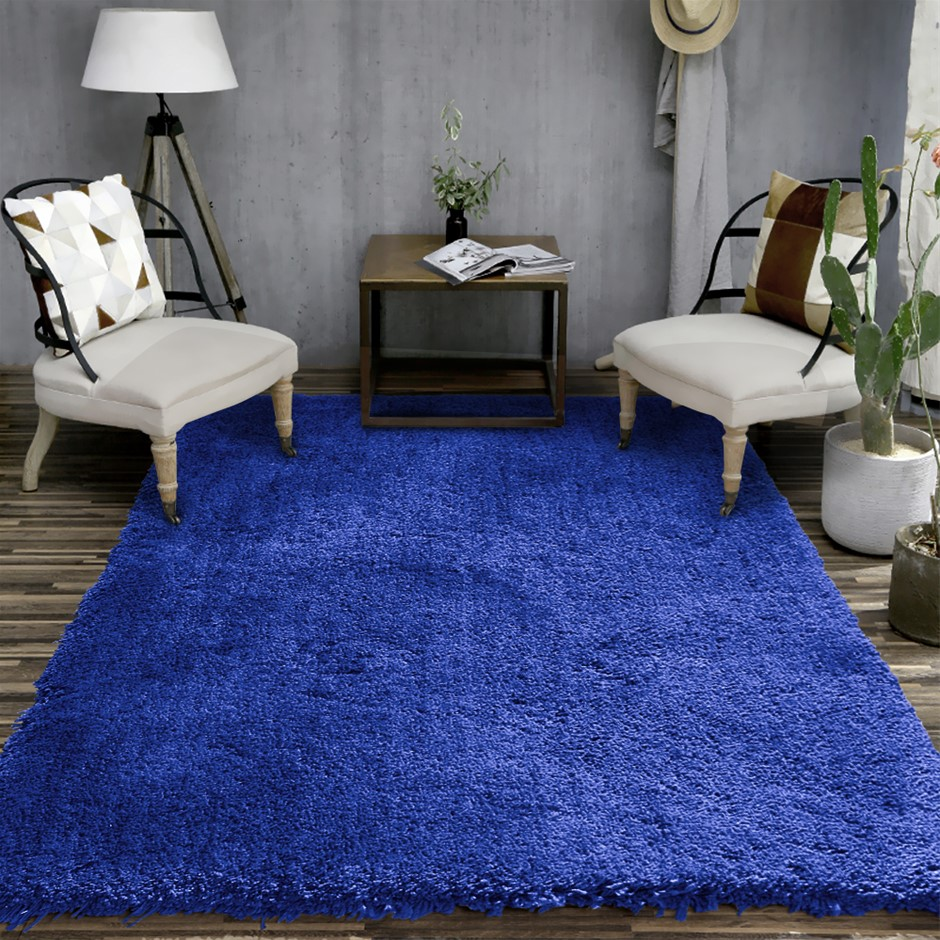 Ultra Soft Anti Slip Rectangle Plush Shaggy Floor Rug Carpet 120x170cm Blue