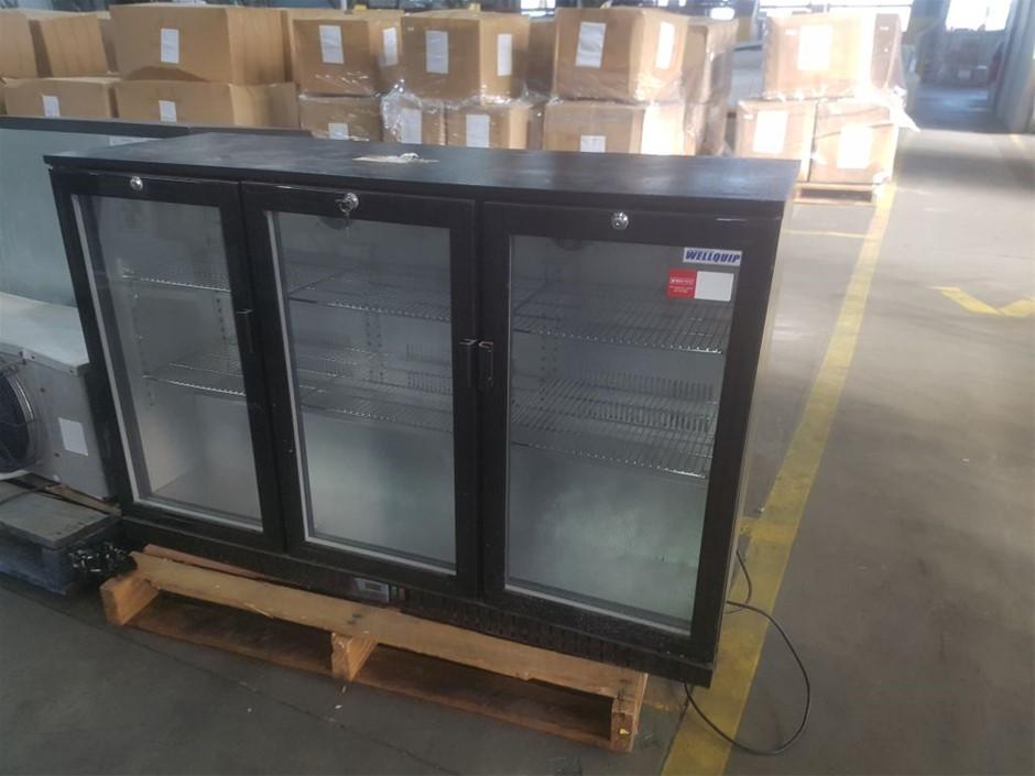 WELLQUIP 3 GLASS DOOR UNDERBAR OR COUNTER TOP BAR FRIDGE WITH ADJUSTABL
