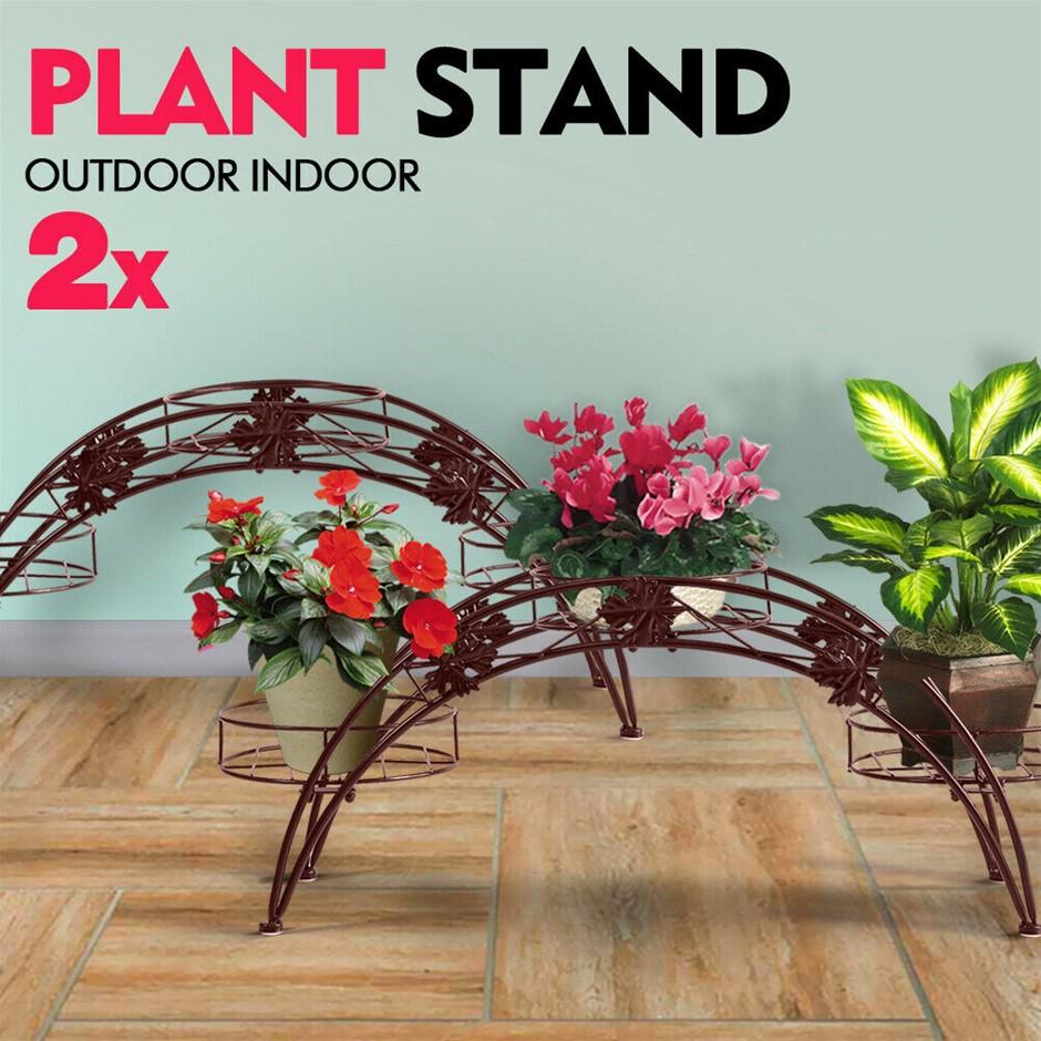 2X Plant Stand Outdoor Indoor Flower Pot Shelf Garden Corner Shelve