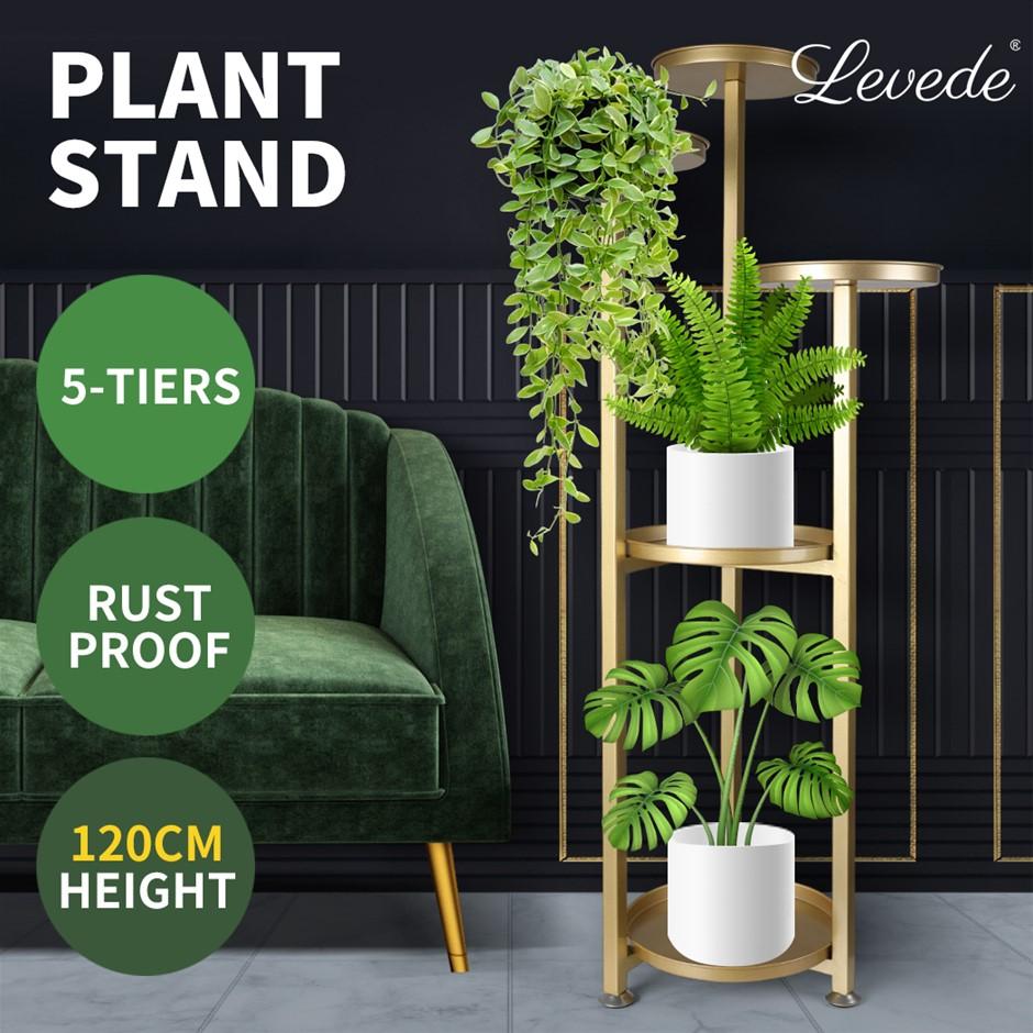 Levede Plant Stand Outdoor Indoor Flower Pots Rack Garden Shelf Gold 120CM