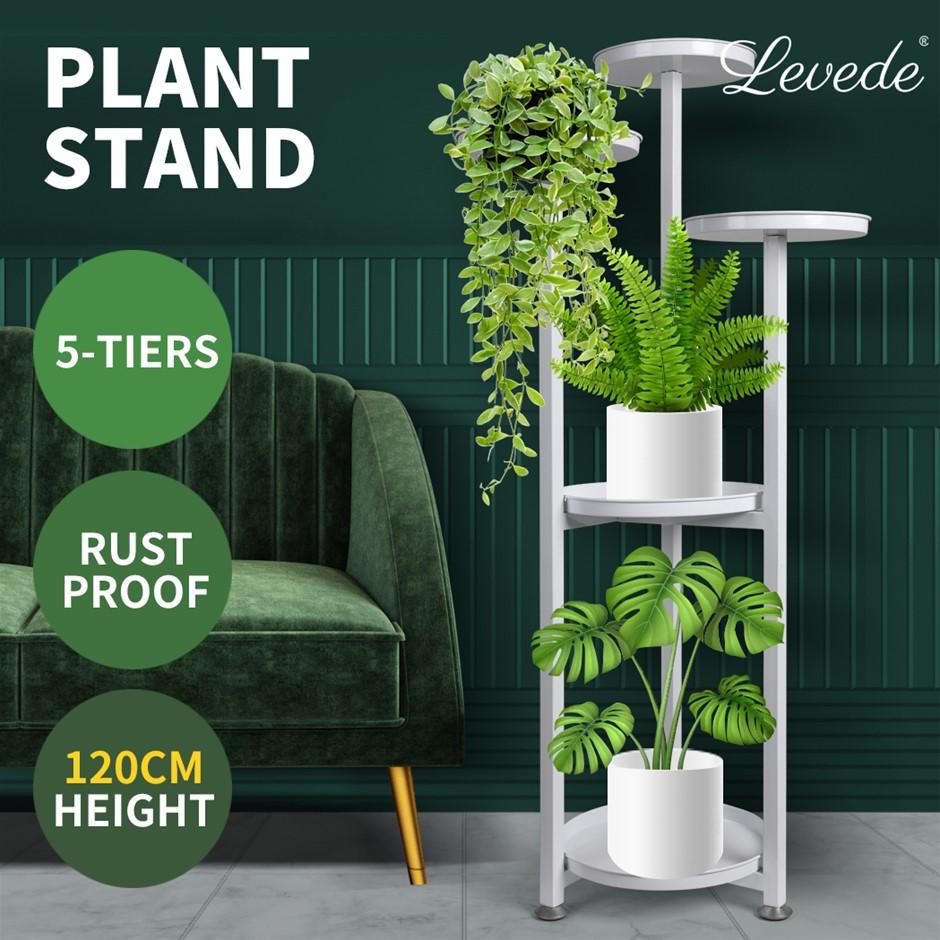 Levede Plant Stand Outdoor Indoor Flower Pots Rack Garden Shelf White 120CM