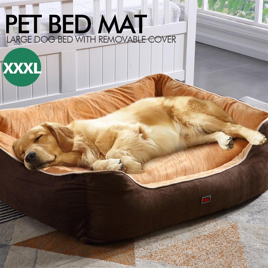 PaWz Pet Bed Mattress Dog Cat Pad Mat Puppy Cushion Warm Washable 3XL Brown