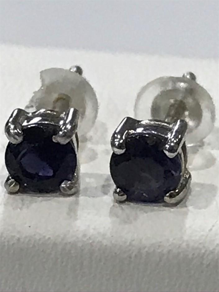 Stunning Genuine Iolite & 18K W/Gold Vermeil Stud Earrings