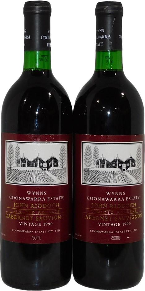 Wynns `John Riddoch` Cabernet Sauvignon 1990 (2x 750mL) Coonawarra, SA