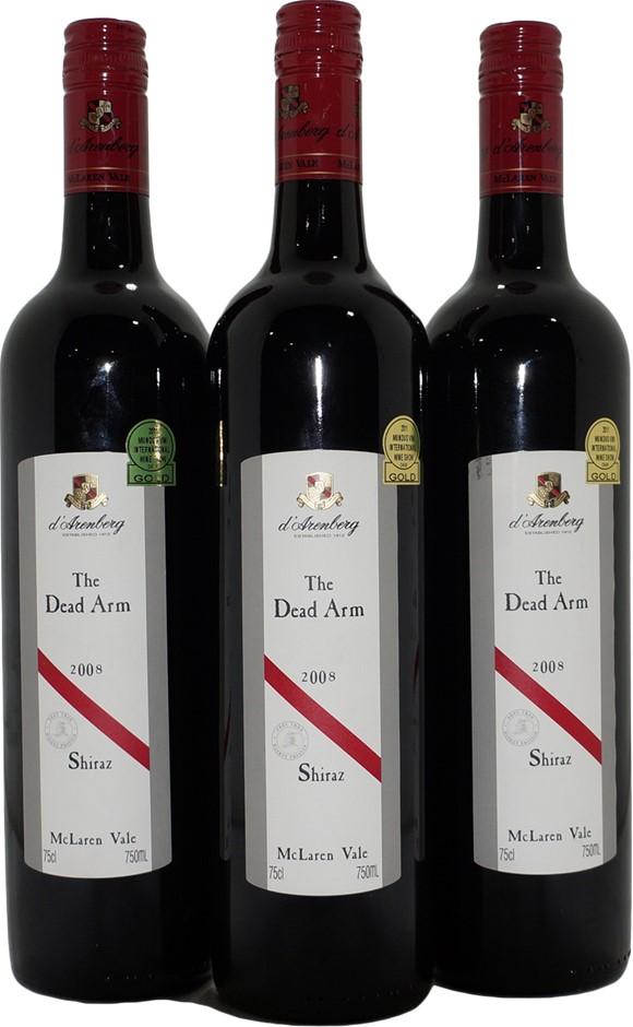 d'Arenberg The Dead Arm Shiraz 2008 (3x 750mL), SA. Screwcap.
