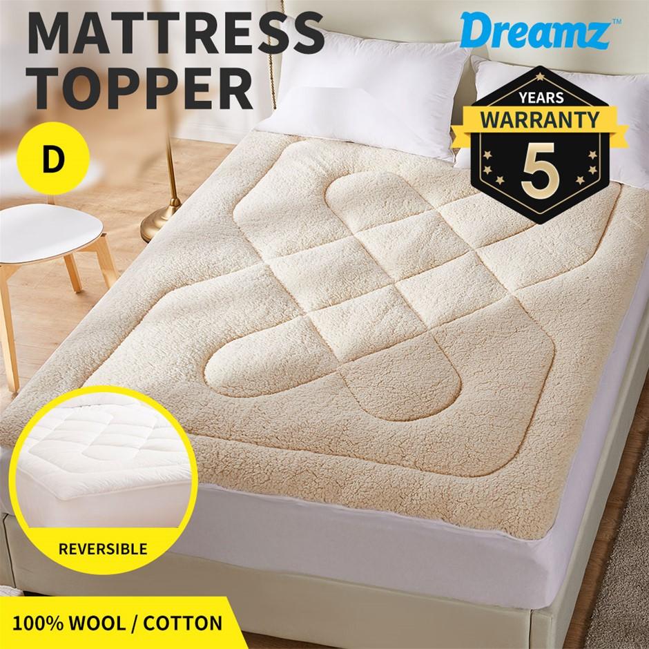Dreamz Mattress Topper 100% Wool Underlay Mat Pad Protector Double