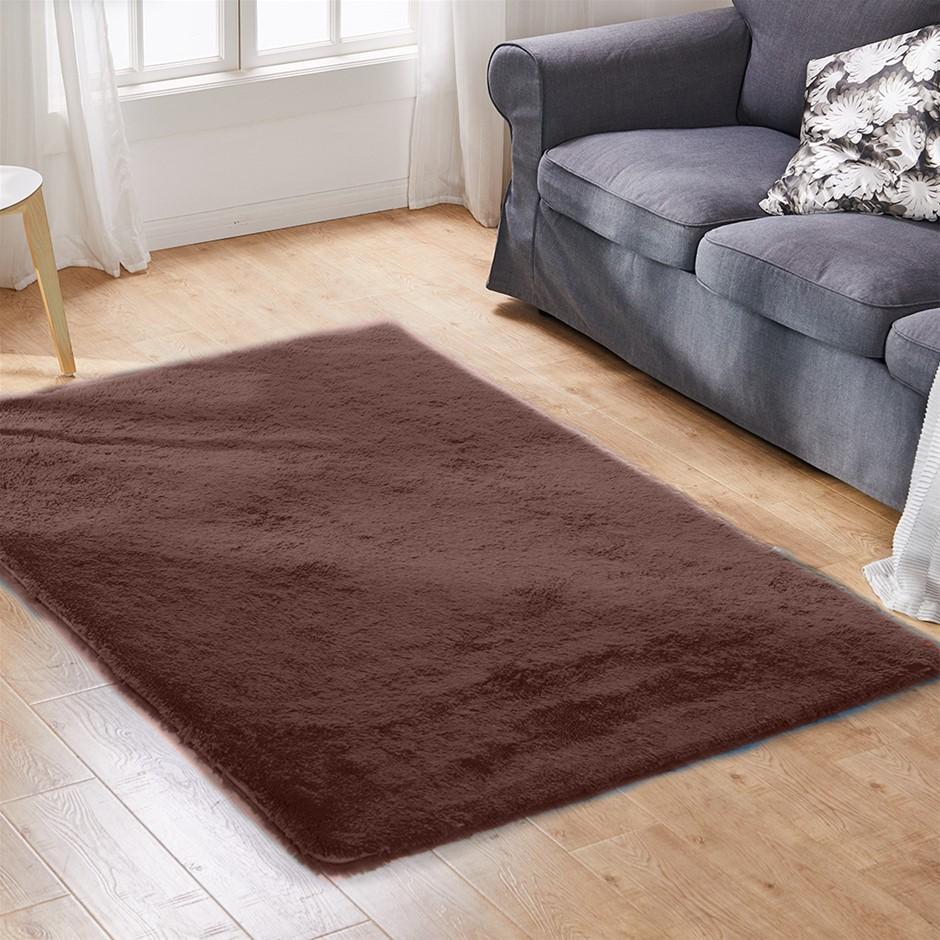 Designer Soft Shag Shaggy Floor Rug Confetti Carpet 200x230cm Coffee