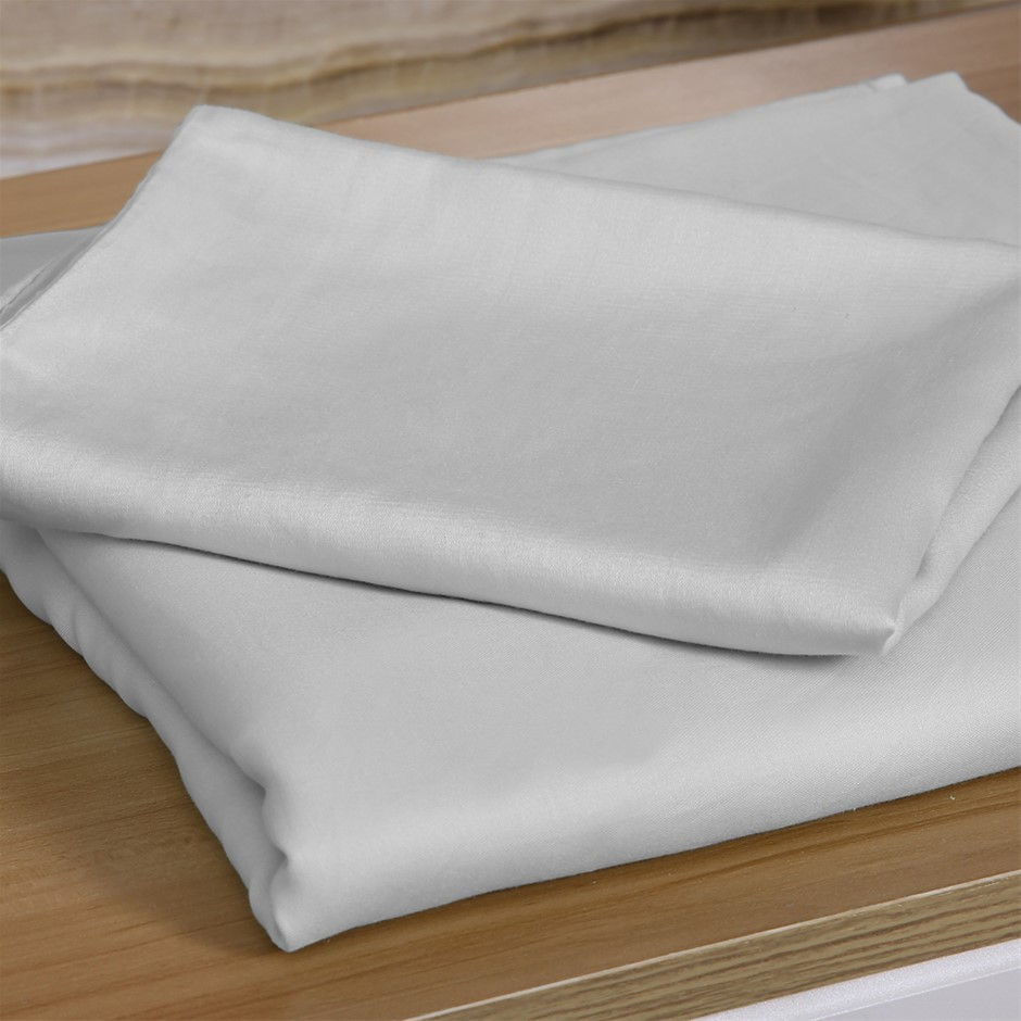 DreamZ 4 Pcs Natural Bamboo Cotton Bed Sheet Set in Size King Grey