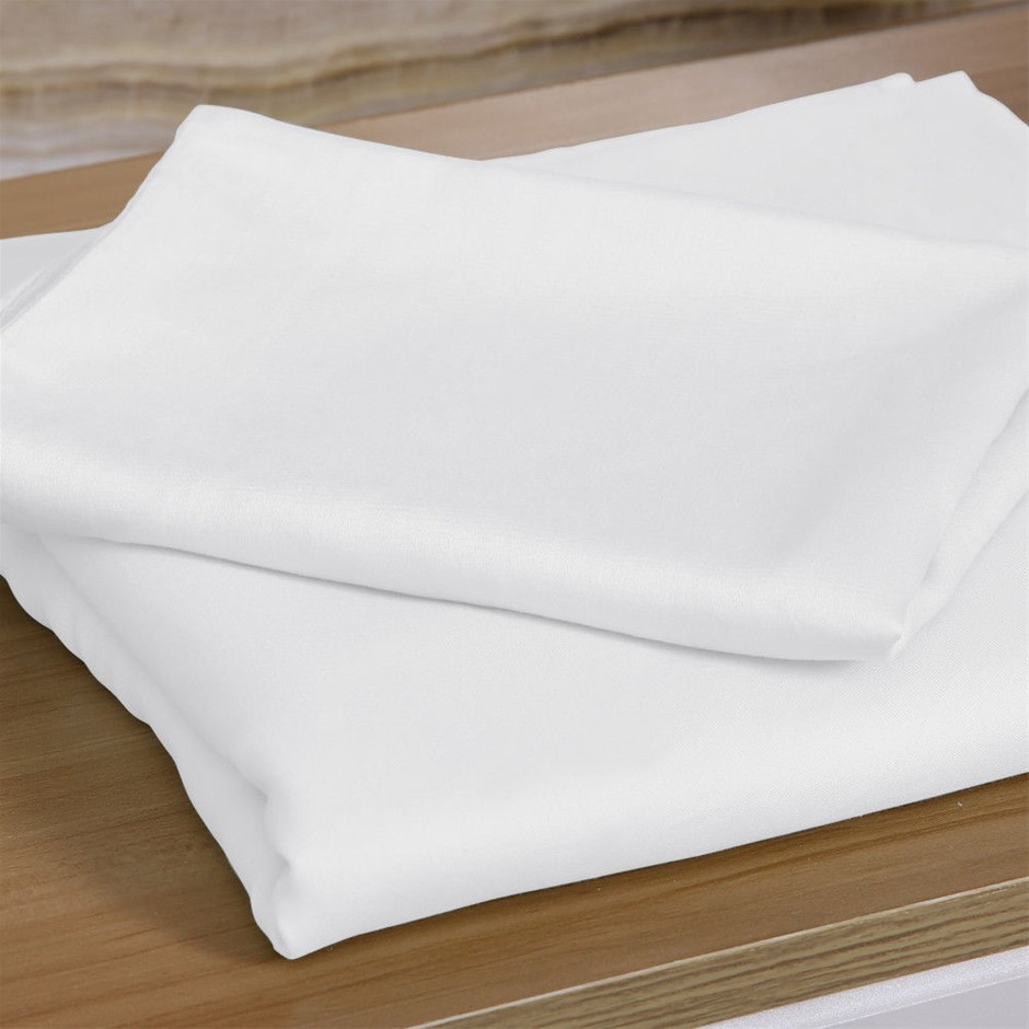 DreamZ 4 Pcs Natural Bamboo Cotton Bed Sheet Set in Size Double White