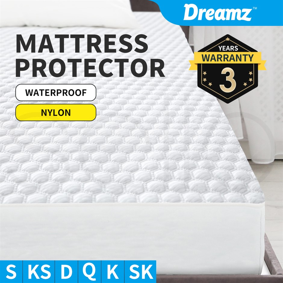 DreamZ Mattress Protector Fitted Sheet Cover Nylon Queen King Single