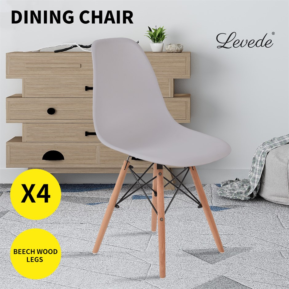 Levede Dining Chairs Retro Replica Office Cafe Lounge Chair Grey X4