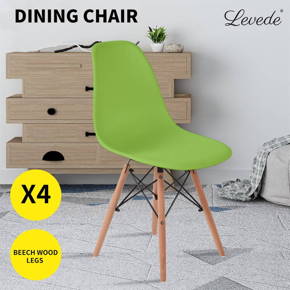 Levede Dining Chairs Retro Replica Office Cafe Lounge Chair Mustard X4
