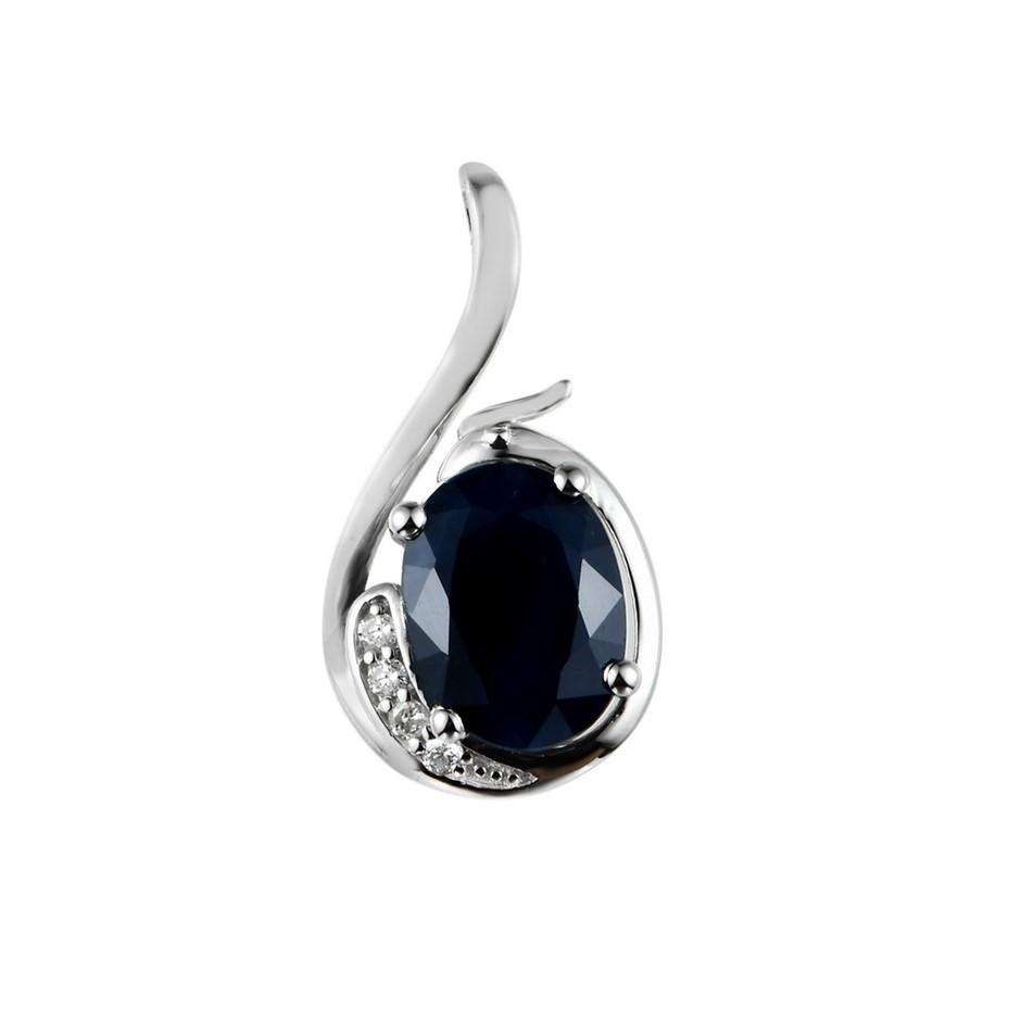9ct White Gold, 1.51ct Blue Sapphire and Diamond Pendant