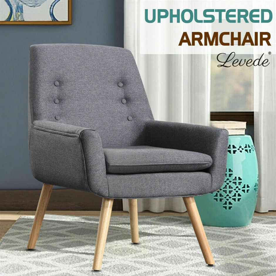 Levede Luxury Upholstered Armchair Dining Chair Single Accent Padded Fabric