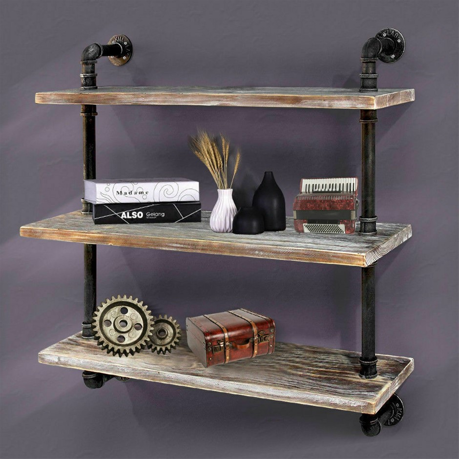 Vintage Wooden Floating Wall Shelf Shelves Display Bookshelf Rack Holder