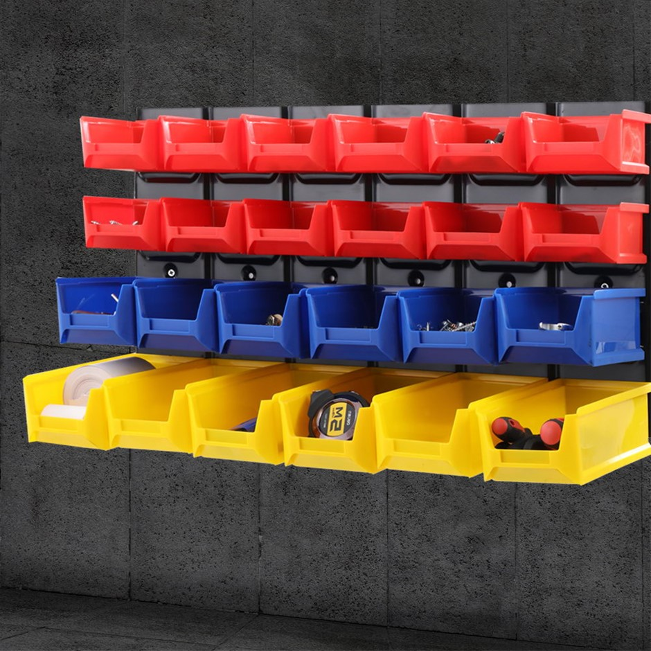 24 Bin Wall Mounted Rack Storage Tools Steel Board Work Bench Garage
