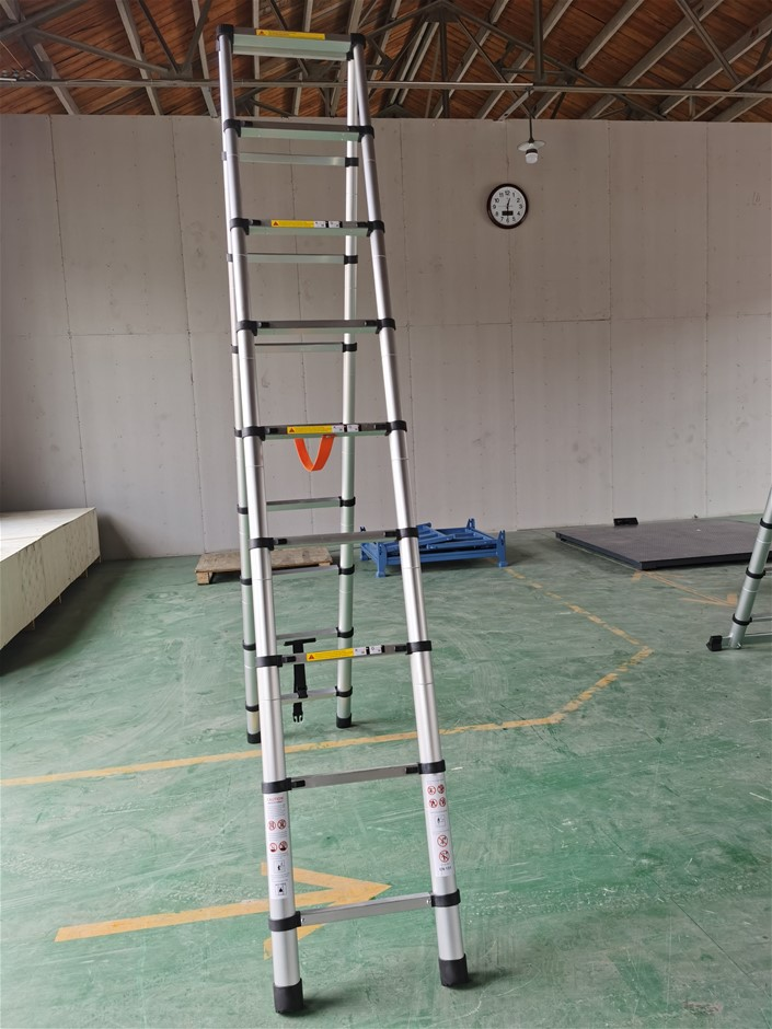 2.6m 9 Steps Aluminium Alloy Double Sided Ladder Extendable Step With Lock