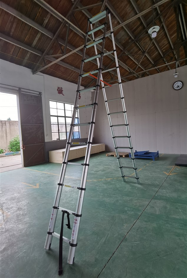 3.8m 13 Steps Aluminium Alloy Double Sided Ladder Extendable Step With Lock