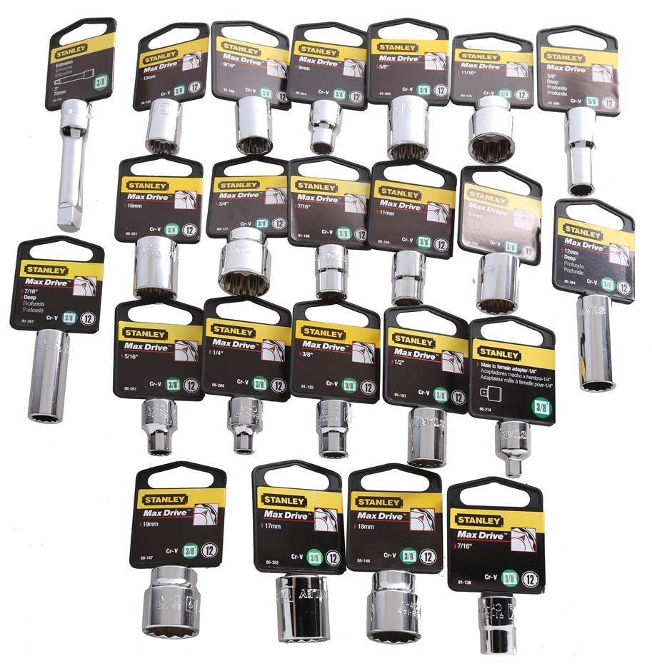 22 x STANLEY Assorted Metric/AF 3/8`` Drive 12pt Sockets. Includes: 9 x A/F