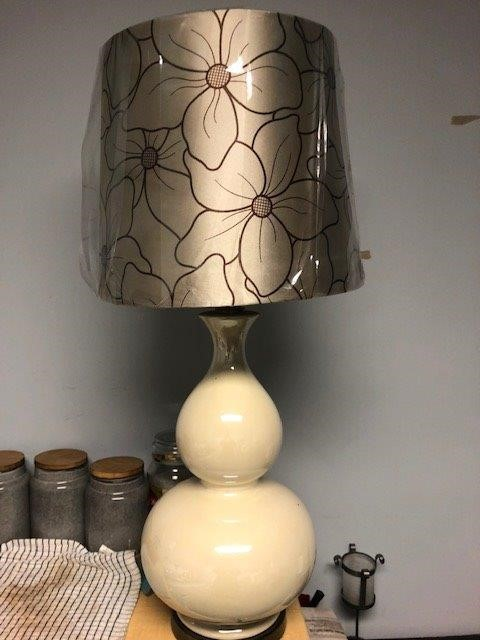 80cm Cream Ceramic Lamp Base with Flowered Shade