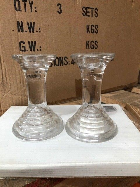 Qty 6 Glass Candle Holders