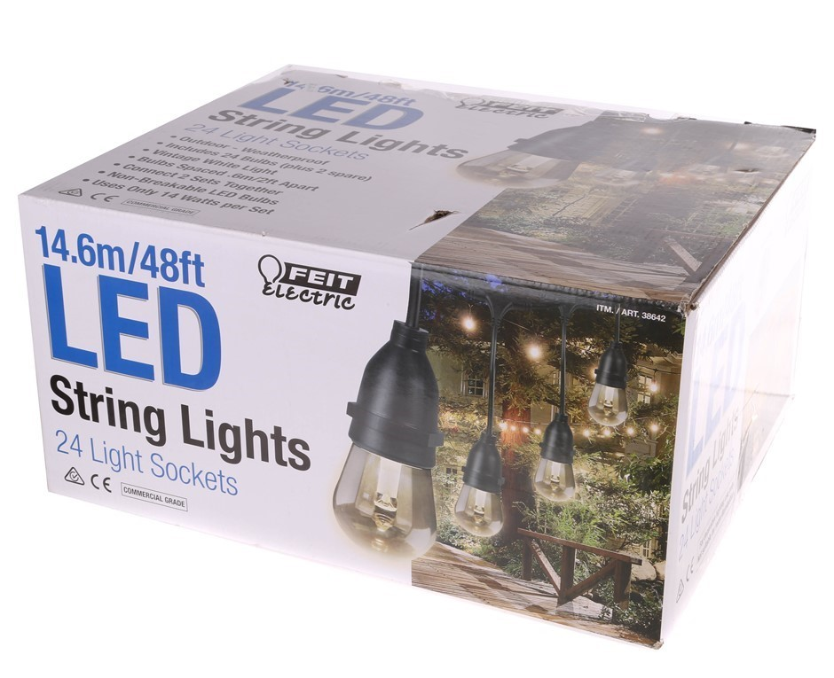FEIT 14.6M LED String Lights with 24 x Light Sockets. N.B. Condition Unknow