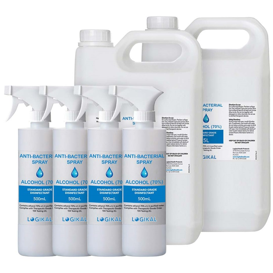 2X 5L and 4X 500ML Standard Grade Disinfectant Anti-Bacterial Spray Bottle