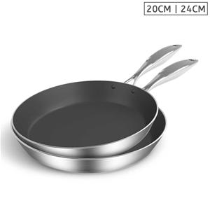 SOGA SS Fry Pan 20cm 24cm Frying Pan Ind