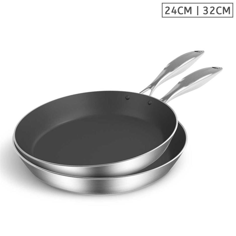 SOGA SS Fry Pan 24cm 32cm Frying Pan Induction Non Stick Interior