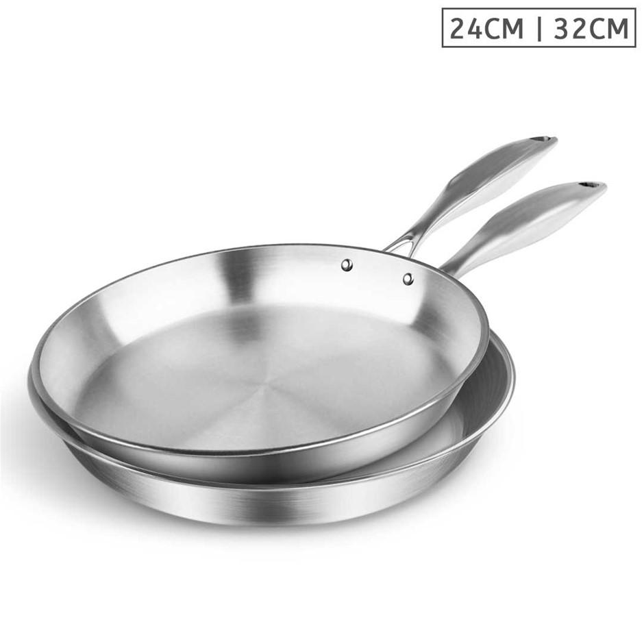 SOGA SS Fry Pan 24cm 32cm Frying Pan Top Grade Induction Cooking