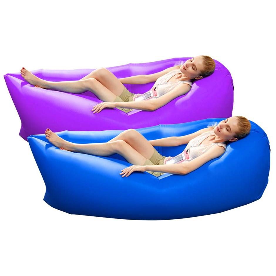 2X Fast Inflatable Sleeping Bag Lazy Air Sofa Blue/Purple