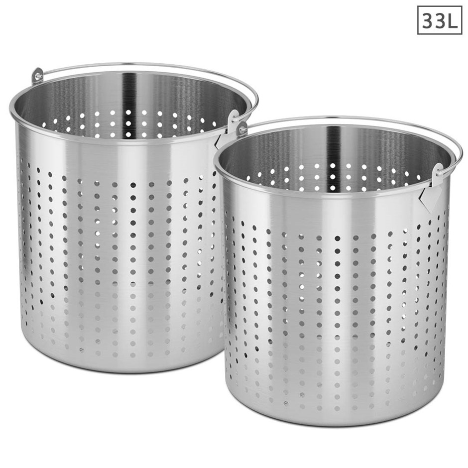SOGA 2X 33L 18/10 SS Perforated Stockpot Basket Pasta Strainer W/ Handle