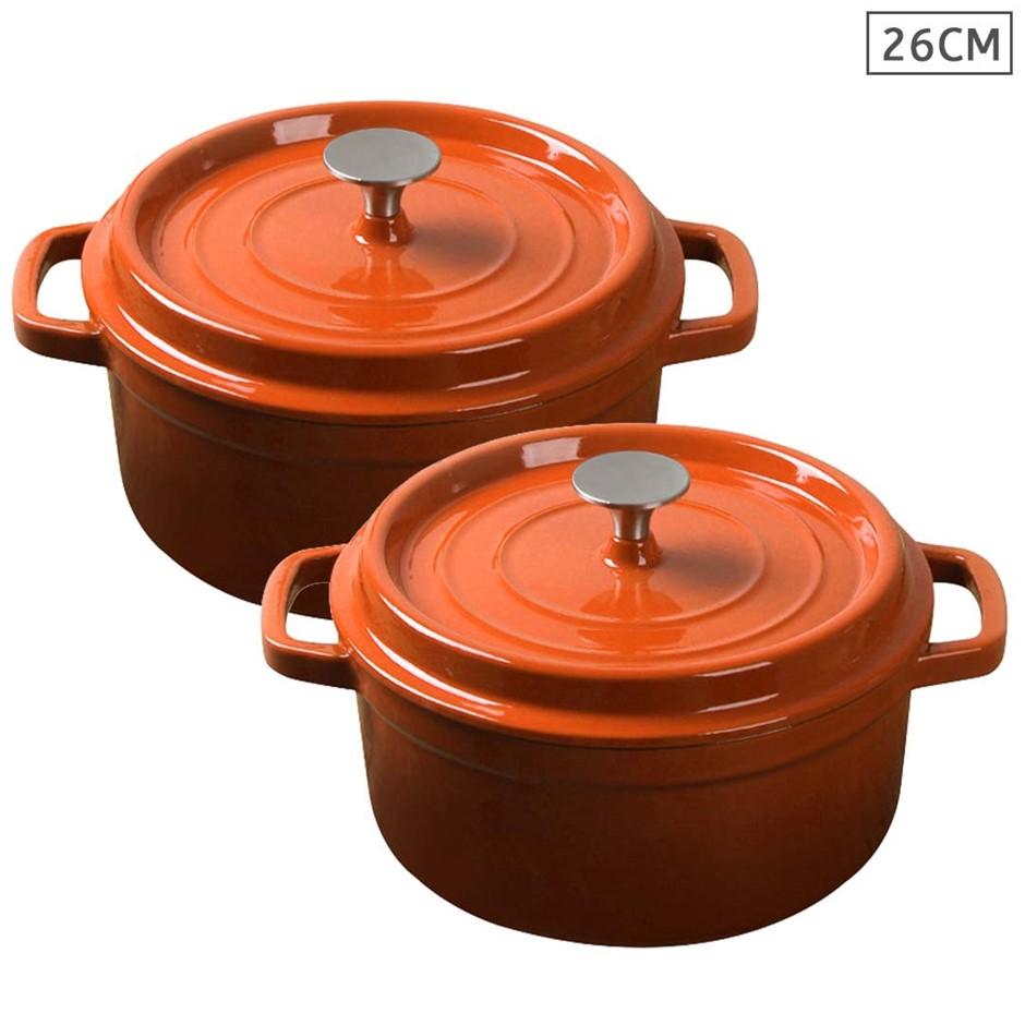 SOGA 2X Cast Iron 26cm Enamel Porcelain Stewpot Casserole Stew W/ Lid