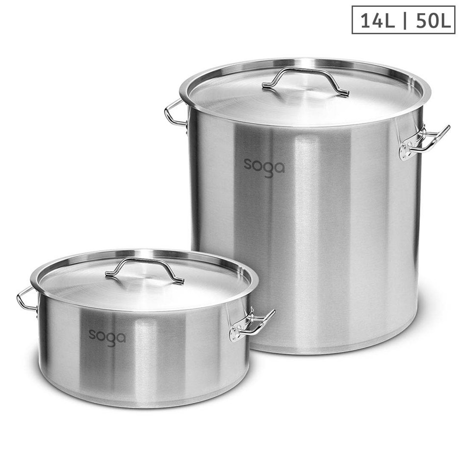 SOGA 14L Wide Stock Pot and 50L Tall Top Grade Thick SS Stockpot 18/10
