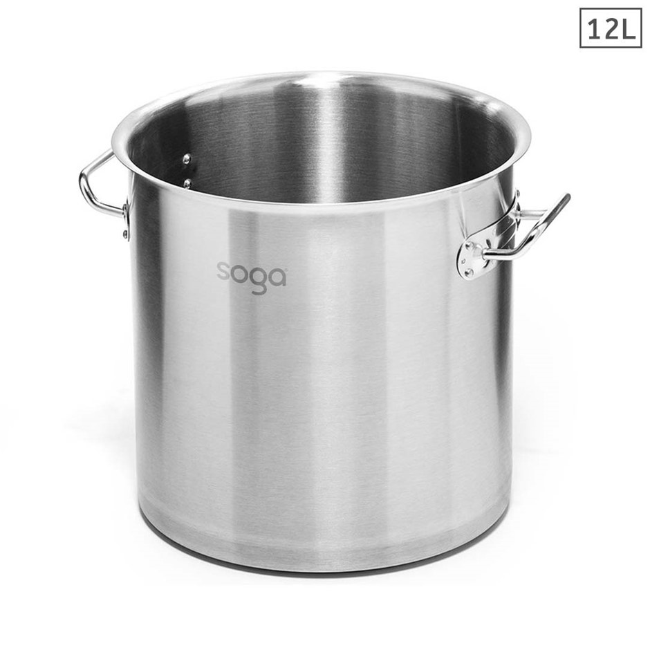 SOGA Stock Pot 12L Top Grade Thick Stainless Steel Stockpot 18/10 W/out Lid