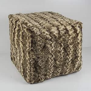 BAMBURY Faux Fur Cube Ottoman cover, Chinchilla. 100% Acrylic Faux Fur. 43x