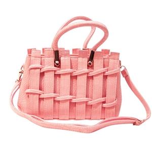 Pale Pink PU Leather Handbag - Pink Slat