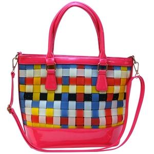 Pink PU Leather Handbag with Glitter Str