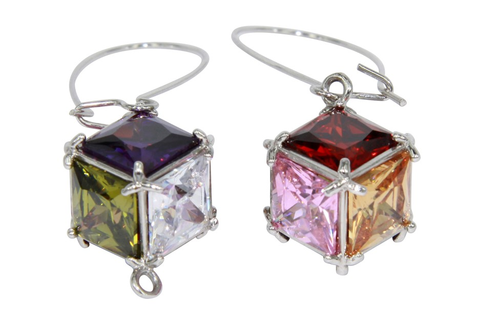 EARRINGS - multi coloured cubic zirconia stones made into a cube