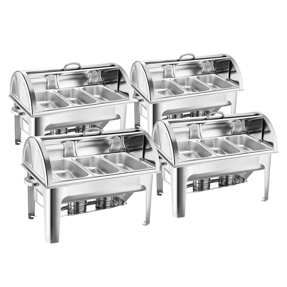 SOGA 4X Stainless Steel Roll Top Chafing Dish 3*3L Three Trays Food Warmer