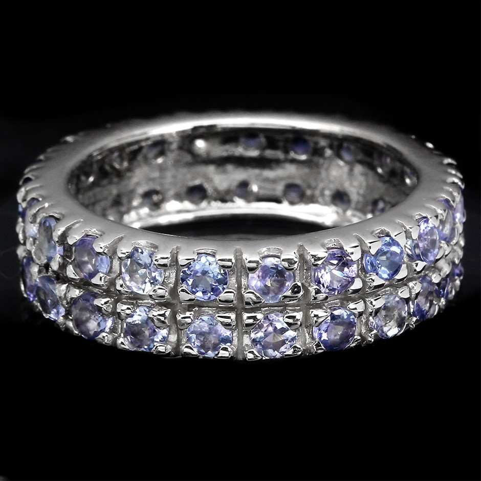 Beautiful Genuine Tanzanite Double Eternity Ring Band.