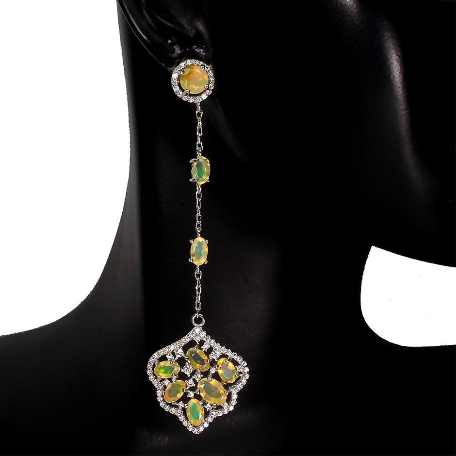 Amazing Genuine Fire Opal Drop Earrings