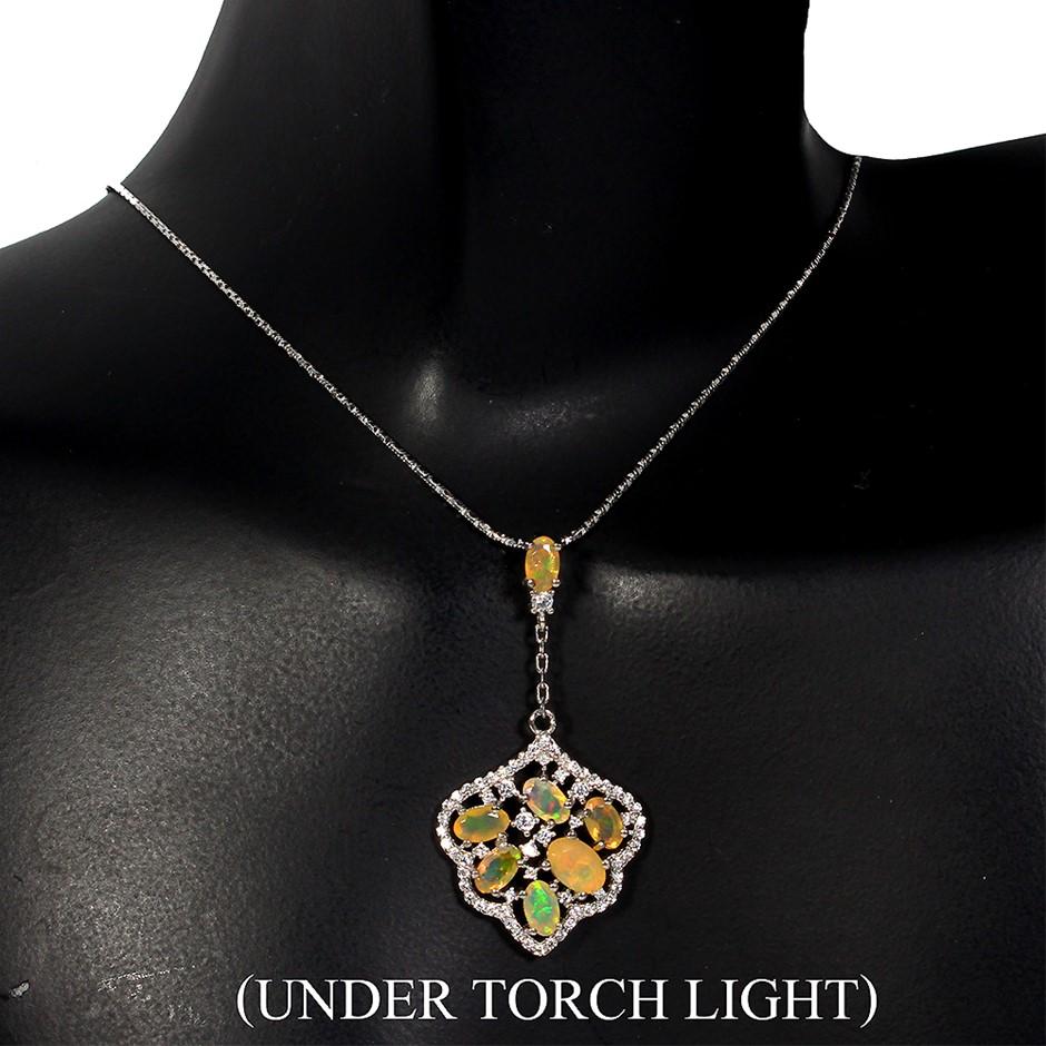 Amazing Genuine Fire Opal Drop Pendant Necklace.