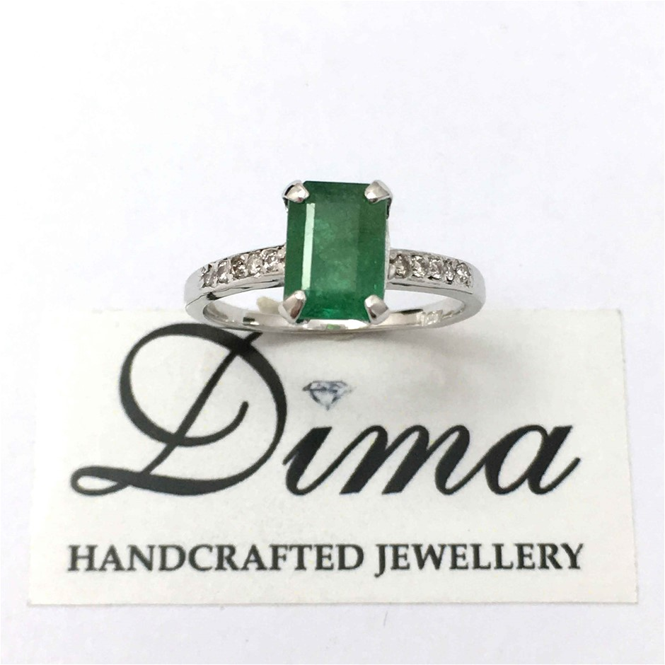 18ct White Gold, 1.79ct Emerald and Diamond Ring