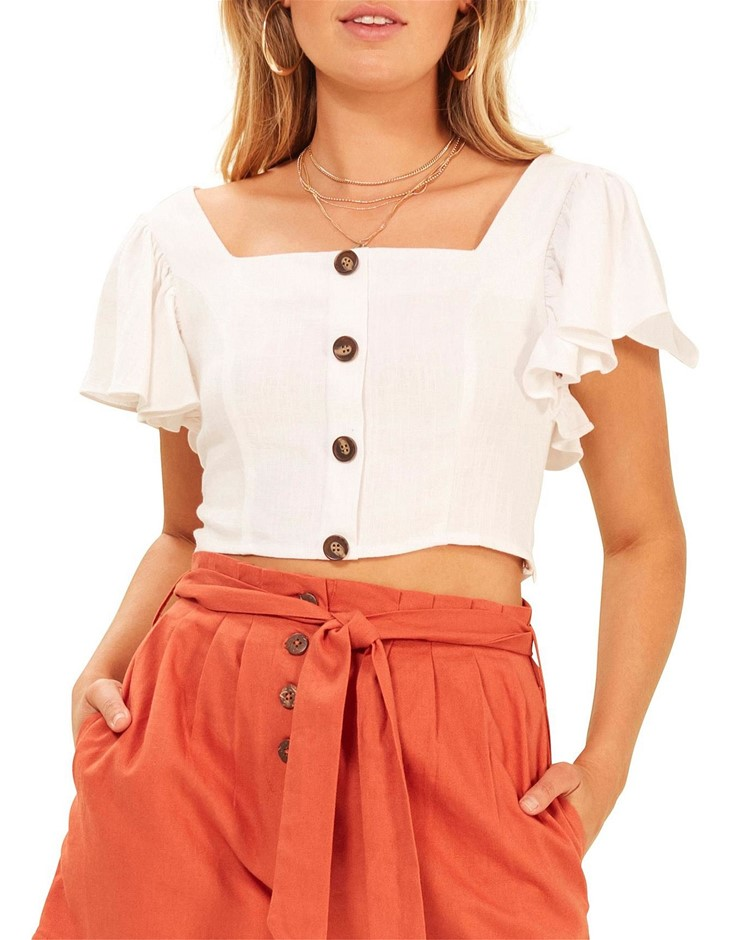 MINK PINK Button Up Frilled Top. Size XS, Colour: White. Viscose / Linen. B