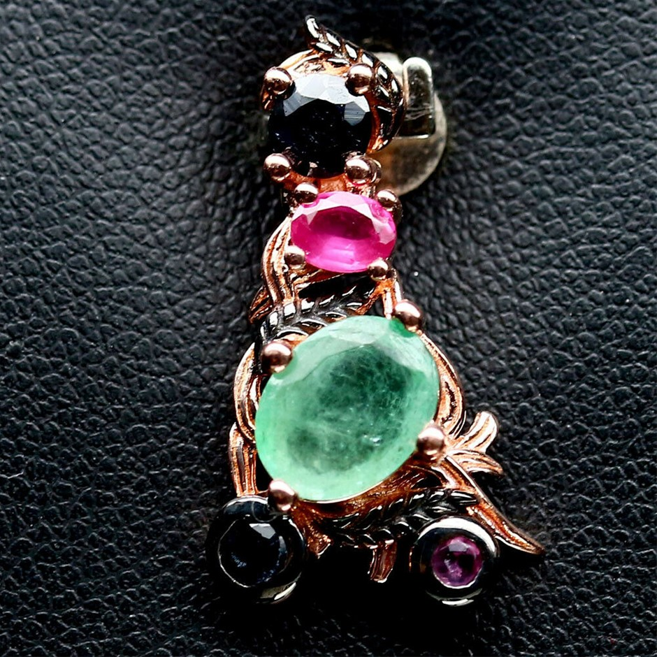 Unique Genuine Emeralds Ruby & Sapphire Pendant.