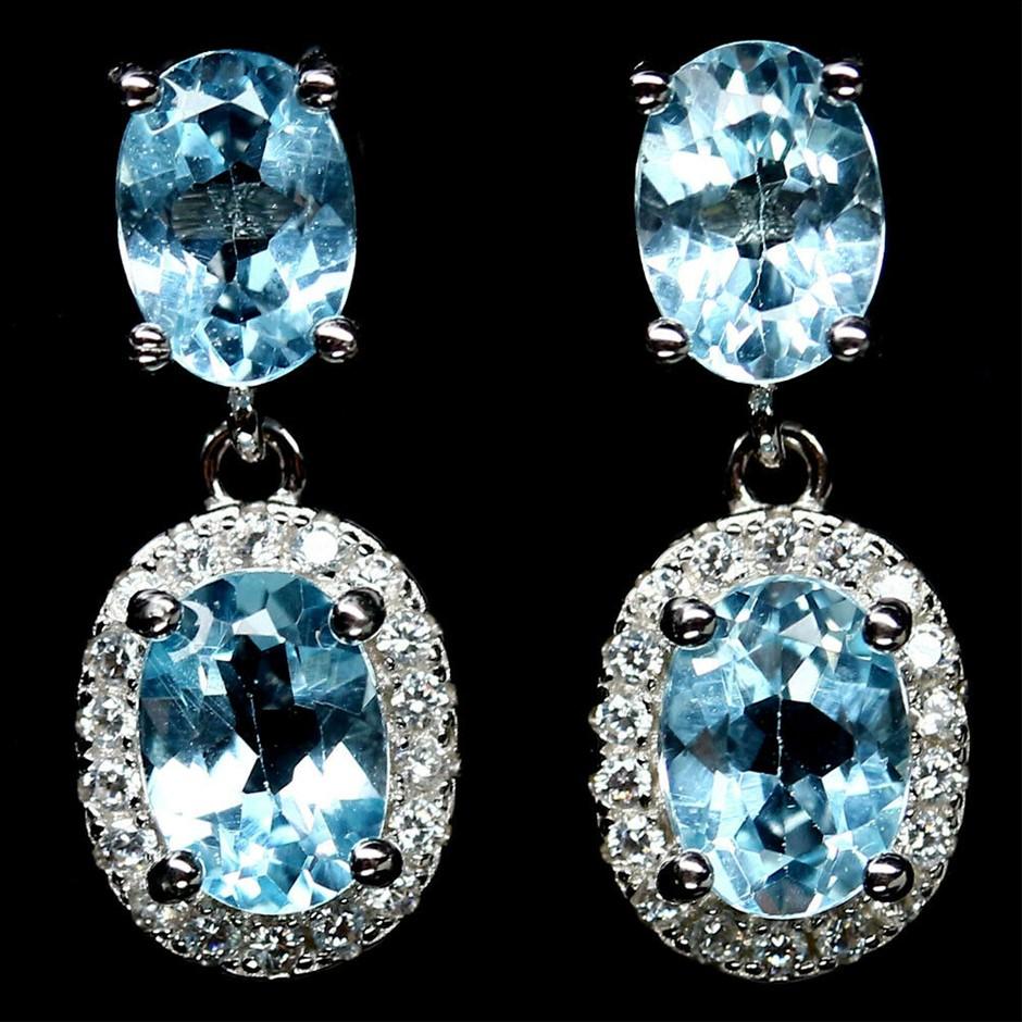 Gorgeous Genuine Sky Blue Topaz Drop Earrings.