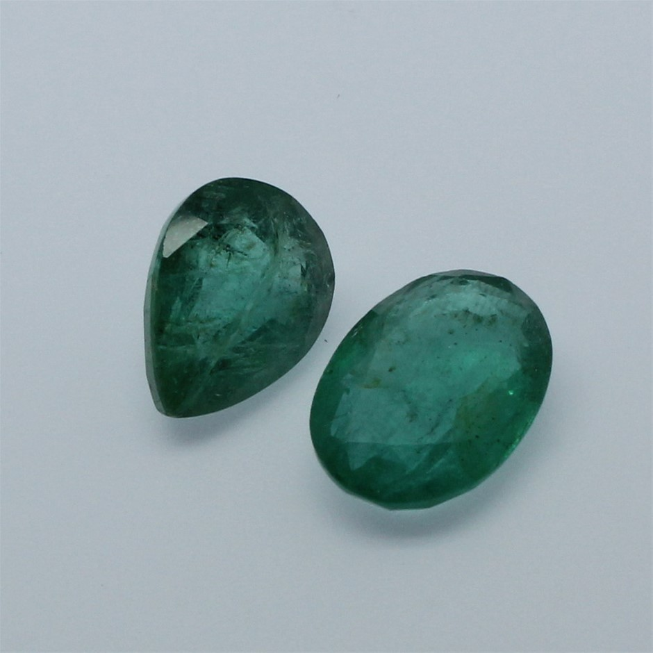 Two Loose Pear & Oval Emeralds 7.70ct