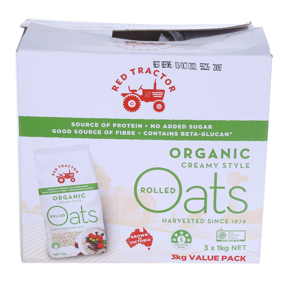 5 x RED TRACTOR Organic Creamy Style Rolled Oats, 1kg each. N.B. Outer cart