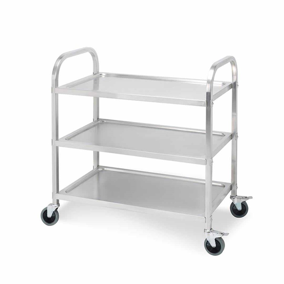 SOGA 3 Terr S/S Kitchen Dining Food Cart Trolley Utility - 75x40x83.5cm Sml